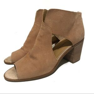 Lucky Brand Peep-Toe Block Healed Suede Shooties